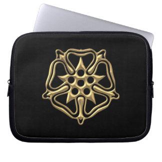 "Golden ""3-D"" Rose Symbol Laptop Sleeve"