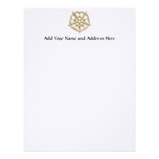 """Golden """"3-D"""" Rose Symbol Letterhead"""