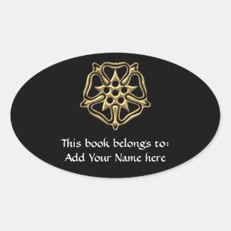 """Golden """"3-D"""" Rose Symbol Oval Sticker"""