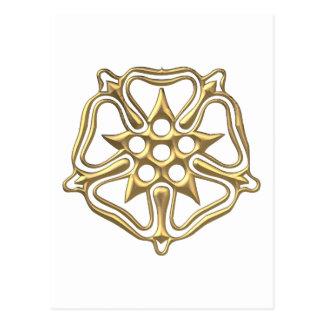 """Golden """"3-D"""" Rose Symbol Postcard"""