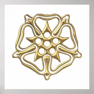"""Golden """"3-D"""" Rose Symbol Poster"""