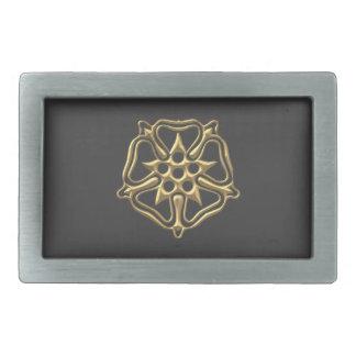 "Golden ""3-D"" Rose Symbol Rectangular Belt Buckle"