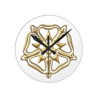 """Golden """"3-D"""" Rose Symbol Round Clock"""