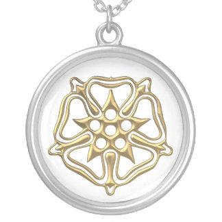 "Golden ""3-D"" Rose Symbol Silver Plated Necklace"