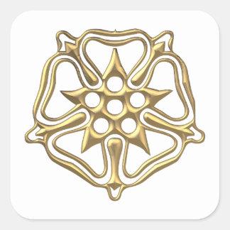 """Golden """"3-D"""" Rose Symbol Square Sticker"""