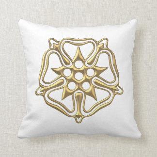 """Golden """"3-D"""" Rose Symbol Throw Pillow"""