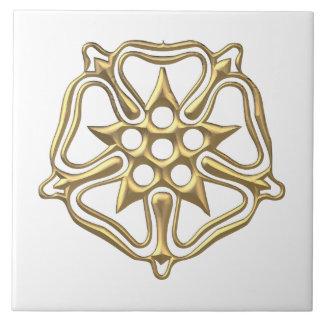 """Golden """"3-D"""" Rose Symbol Tile"""
