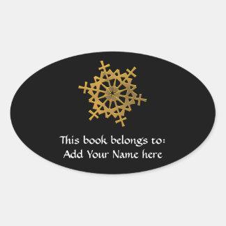 "Golden ""3-D"" Snowflake Oval Sticker"