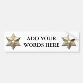 """Golden """"3-D"""" Star of David Car Bumper Sticker"""