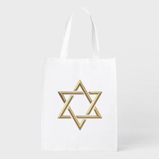 Golden 3-D Star of David Reusable Grocery Bag
