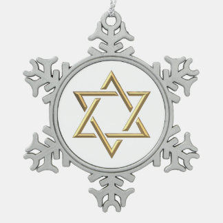 """Golden """"3-D"""" Star of David Snowflake Pewter Christmas Ornament"""