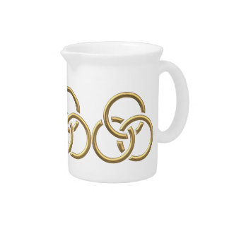 """Golden """"3-D"""" Trinity Rings Beverage Pitcher"""