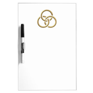 "Golden ""3-D"" Trinity Rings Dry-Erase Board"