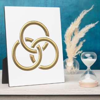 "Golden ""3-D"" Trinity Rings Plaque"