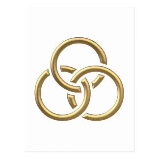 "Golden ""3-D"" Trinity Rings Postcard"