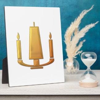 """Golden """"3-D"""" Unity Candle Plaque"""