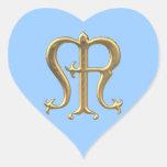 """Golden """"3-D"""" Virgin Mary Symbol Heart Sticker"""