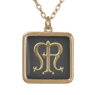 "Golden ""3-D"" Virgin Mary Symbol Square Pendant Necklace"
