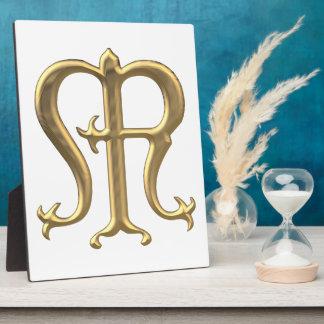 "Golden ""3-D"" Virgin Mary Symbol Plaque"
