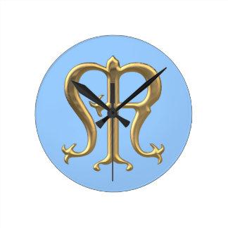 """Golden """"3-D"""" Virgin Mary Symbol Round Clock"""