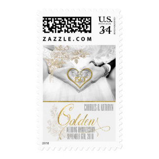 Golden 40th Anniversary Faux Gold Leaf Postage