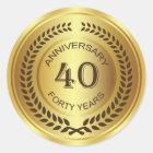 Golden 40th Anniversary with laurel wreath Sticker