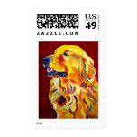 Golden #4 postage stamps