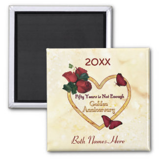 Golden 50 Anniversary 2 Inch Square Magnet