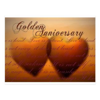 Golden 50 year anniversary postcard