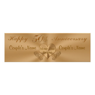 Golden 50th Anniversary Banner with NAMES and DATE Poster