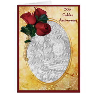 Golden 50th Anniversary Card
