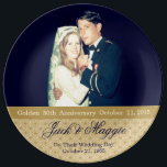 "Golden 50th Anniversary | Commemorative Plate<br><div class=""desc"">For their Golden 50th Anniversary,  a Commemorative Plate made of porcelain that has the couples wedding photograph or any photo you choose,  like one from when renewed vows were taken. The perfect gift for grandparents from daughter,  son,  granddaughter,  grandson,  friend,  Godson,  Goddaughter,  any family member .</div>"