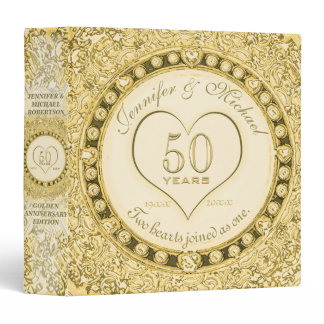 Golden 50th Anniversary Custom Gift Binder