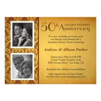 Golden 50th Anniversary Damask 2 Photos Invitation