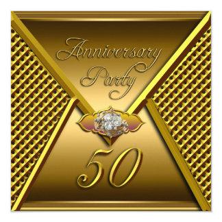 Golden 50th Anniversary Elegant Wedding Gold 5.25x5.25 Square Paper Invitation Card