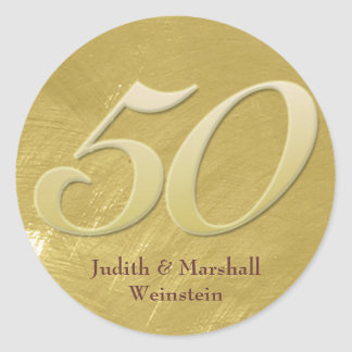 Golden (50th) Anniversary Faux Metal-Look Classic Round Sticker