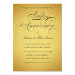 "Golden 50th Anniversary Invitation  Black & Gold 5"" X 7"" Invitation Card"