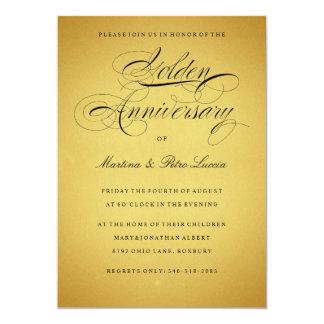 """Golden 50th Anniversary Invitation  Black & Gold 5"""" X 7"""" Invitation Card"""