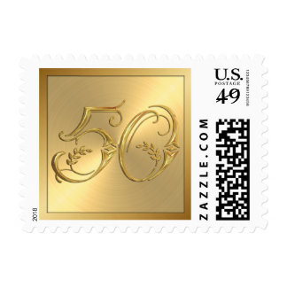 Golden 50th Anniversary or Birthday Stamp