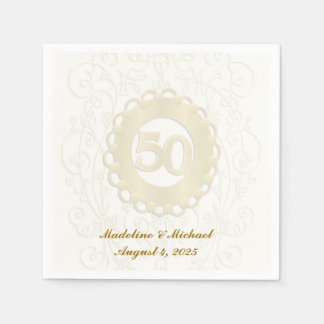 Golden, 50th Anniversary Paper Napkin