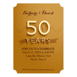 Golden 50th Anniversary Party Invitations 5