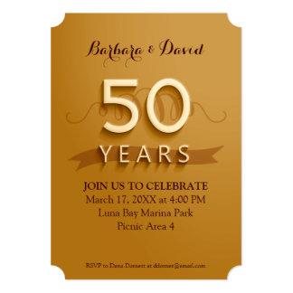 Golden 50th Anniversary Party Invitations