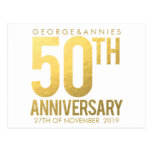 Golden 50th Anniversary Party Postcard