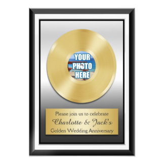 Golden 50th Anniversary Personalized Gold Record Card