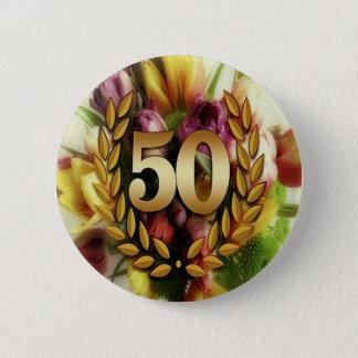 Golden 50TH Anniversary Pinback Button