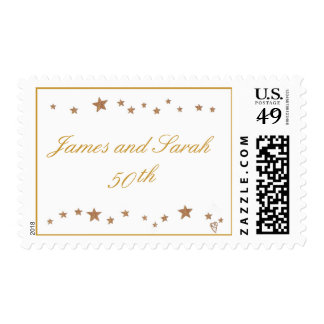 Golden 50th Anniversary stamps gold stars template