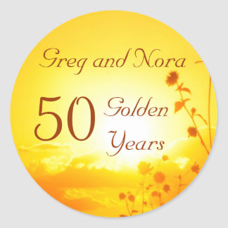 Golden 50th Anniversary Sticker Customizable
