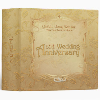 Golden 50th Anniversary - Year Can Be Customized 3 Ring Binder