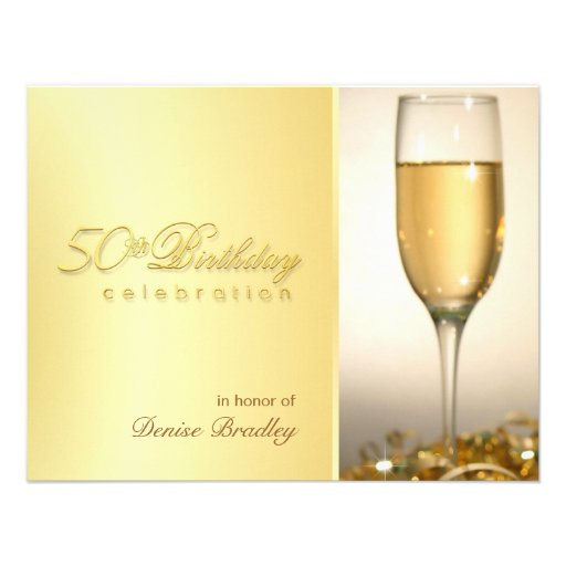 Golden 50th Birthday Party Invitations