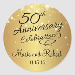 Golden 50th Wedding Anniversary Classic Round Sticker